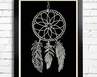 Dream Catcher Print Dream Catcher Art Tribal Print Gift for Mom Gift for Girlfriend Feather Wall Decor Gift for Wife  Gift for Her 097