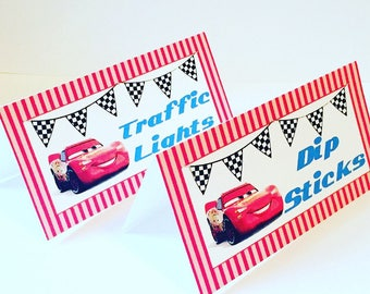 Lightning McQueen Food Labels, Lightning McQueen Place Cards, Cars 3, Set of 12