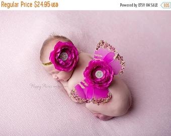 ON SALE Pink Newborn Butterfly Wings and headband, newborn photography prop, Baby Girl Prop, Baby Headband
