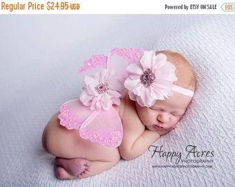ON SALE NEWBORN Wings,  pink wings and headband set, Angel Wings, newborn photography prop, baby wings, fairy wings