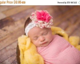 ON SALE Baby Girl Headband, Newborn Headband, Chiffon Headband, Flower Headband, Newborn Photo Prop, Photography Prop