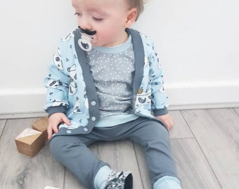 Panda 3 piece set - boys outfit - baby boy outfit - panda print - blue panda - baby cardigan - boys cardigan - organic baby clothes