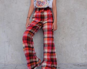 70s wool plaid flared pants