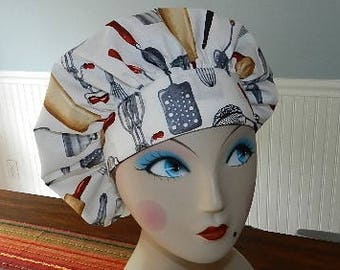 Kiss the Cook  Banded Bouffant Surgical Cap Bakers Cap/Chef Cap