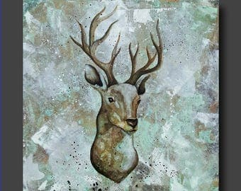 Simplicity Series - Deer Painting - Deer Face - Modern Contemporary Art by Britt Hallowell