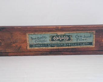 Antique Wood File Box Hibbard Spencer Bartlett Co. Sliding Top Dovetailed Pencil Box