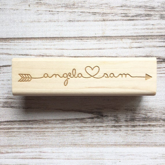 Arrow Stamp with Connecting Names and Heart - Personalized Tribal, Rustic , Cupid