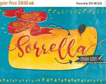 Digital Fonts 80% Off SALE Digital Fonts Sorrella - Digital Typeface - Hand drawn brush script Fonts - Instant Download - with swashes