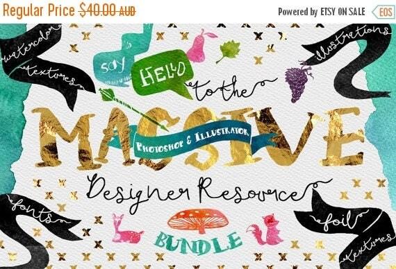 80% OFF Sale Digital Graphic Designer Resource Bundle - Fonts, Clip Art, Watercolor, Gold, silver, platinum Foil, Script Typeface
