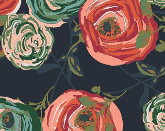 Navy Teal and Rust Floral Rayon Challis, Woodlands Fusion by Art Gallery, 1 yard
