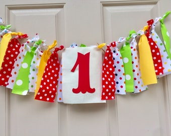 Watermelon Birthday Banner One in a Melon Fabric Highchair Banner 1st Birthday Decorations Bright Colors Smash Cake Photo Prop Fabric Banner