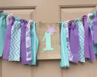 Under the Sea Banner Mermaid Birthday Highchair Banner Party Decorations Lavender Mint Aqua banner Under the Sea Baby Shower Smash cake