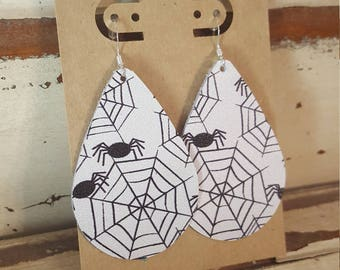 Leather Earrings, Leather Jewelry, Halloween, Spiders, Webs, Black, White, Statement Earrings, 100% Leather, Tear Drop, Lightweight, Limited