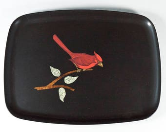 Couroc of Monterey Bakelite Tray Inlaid w Red Cardinal Brass Wood 12.5 x 9.5