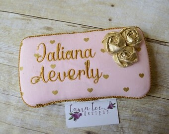 Small Metallic Gold Hearts on Light Pink Travel Baby Wipe Case, Personalized Wipecase, Baby Shower Gift, Wipe Holder, Diaper Bag Wipe Clutch
