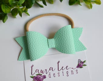 READY TO SHIP, Mint Faux Leather Bow on Nylon Headband or Clip, Newborn, Smash Cake, Toddler, Halloween, Fall Hair Bow, Christmas Hair Bow