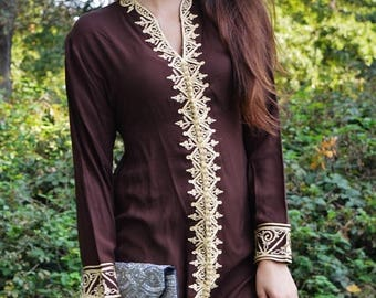 10% OFF Summer SALE // Brown Tunic Dress with Gold Embroidery-Samia- perfect for birthday gifts,resort wear, Valentine's day, winter wear, b