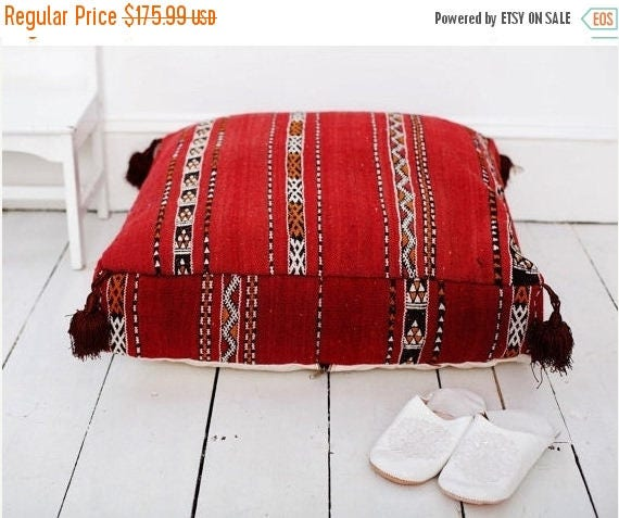 30% OFF Pouf Sale// Red Kilim Moroccan Floor Cushio -home gifts, wedding gifts, anniversary gifts, pouf