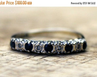 ON SALE Vintage Gold Sapphire Diamond Eternity Ring Engagement 9ct 9k Yellow Gold | FREE Shipping | Size M.5 / 6.5