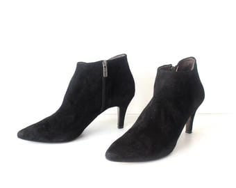 Women's Vintage MELLUSO Heel Black 100% Real Leather Suede Ankle Boots Size UK8 EU42