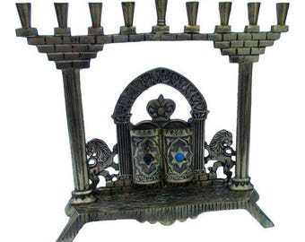 Antique Brass Menorah Israel Lion Torah Ten Commandments Judaica Lions Chanukah Hanukkah Judaica Chanukah Lamp Candle Holder
