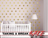 Wall Dots Nursery Decor, Gold Dot Wall Decals, Gold Vinyl Wall Dots, 2.5 inch Peel and Stick Wall Dots to create a Nursery Dot Wall Pattern