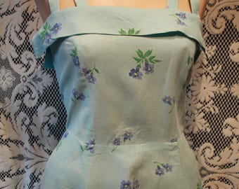 Vintage 1950s Fit and Flare Sun Dress Blue Flowers Matching Bolero