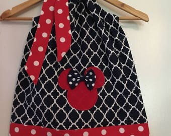Minnie Mouse dress, navy blue pillowcase, Disney clothing, 3, 6 ,9,12,18 month 2t, 3t, 4t, 5t, 6, 7, 8, 10,12