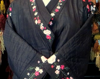 Gorgeous Silk Shantung Chinese Embroidered Kimono/Opera Coat