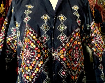 Stunning Indian Mirrored/Embroidered Silk Jacket