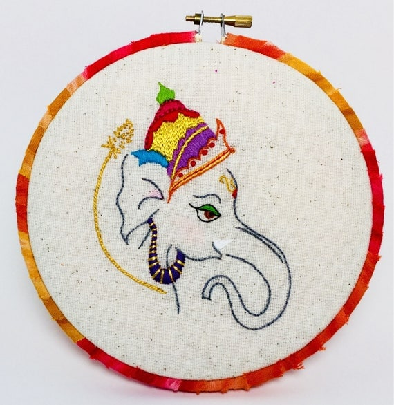 Little Ganesha Hand Embroidered Hoop Art, India, Myth, Elephant, Whimsical, Hand Embroidered