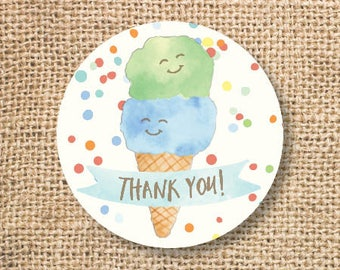 Ice Cream Birthday Favor Tags Printable Boy Blue Green Ice Cream Baby Shower Boys Twins Thank You Tag Pool Party Summer INSTANT DOWNLOAD