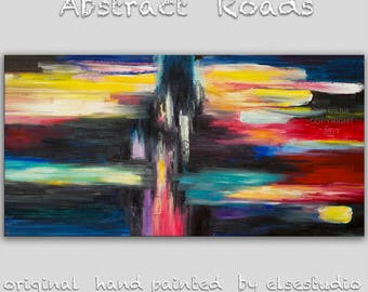 """Sale Original Texture Art painting huge Impasto brushwork oil painting Abstract Road on gallery wrap linen canvas by Tim Lam 48""""  x  24"""""""