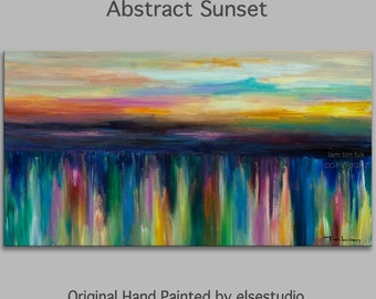 """Sunset Original oil Painting Abstract Painting 48"""" Canvas  art, free dynamic Brushwork, fresh eye-catching focal point"""