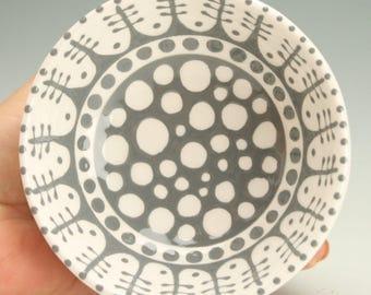 Bright Gray Footed Bowl, Dessert Bowl, Trinket Holder, Candy Dish, Jewelry Bowl, Ice Cream Parfait Cup Ceramic Pottery Medium Grey