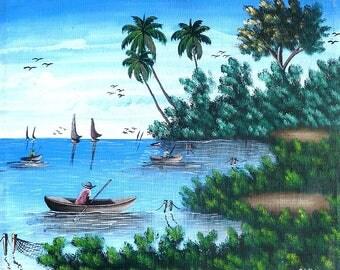"Art of Haiti, Haitian Sailboats -  Haitian Canvas Painting - Ethnic Art, Canvas Art, Haitian Art, Original Painting - 20"" x 24"""