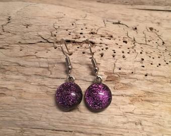 Jewelry, Dichroic glass jewelry, dichroic glass, handmade dichroic glass, fused glass, fused glass earrings, Dichroic Glass Dangle earrings