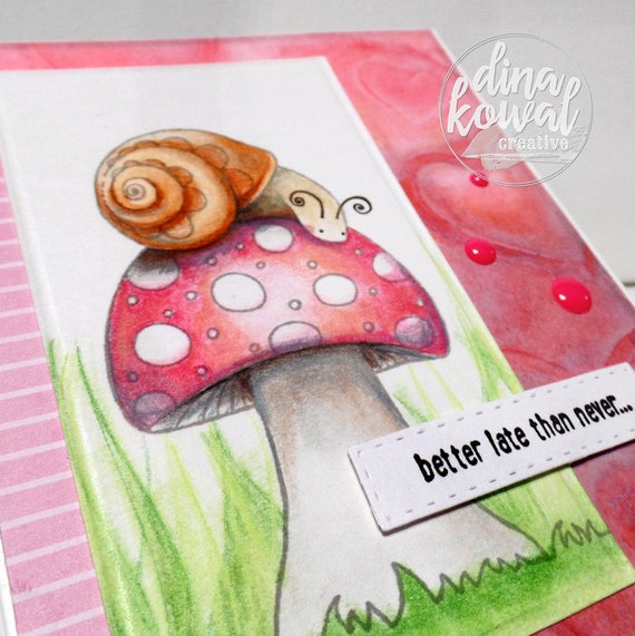 handmade greeting cards - Belated Snail Birthday
