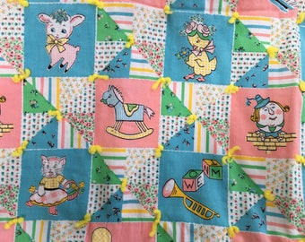 Mid-century Baby Blanket Handmade Quilt