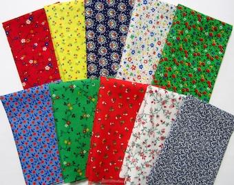 10 Small Print Calico Cotton Fabric Scraps, 8x10, Vintage Calico Stash Builder, Destash, Quilting, Sewing