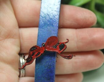 Octopus hand painted leather key fob Key Chain