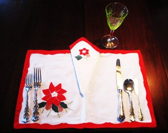 8 Vintage Christmas Handmade Set of  Place Mats and Napkins/  Hand Applique and Embroidery/ Poinsettia/ Holiday Decor