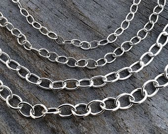 Sterling Silver Oval Chain By The Foot Your Choice Four Sizes Sterling Silver Jewelry Findings