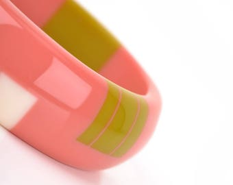 Dome Bangle in Coral Pink, Lime Green and Ivory White