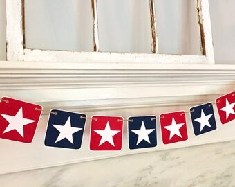 STAR Banner, patriotic banner, red white and blue, fourth of july banner, summer decoration, picnic banner, patriotic photo prop, stars