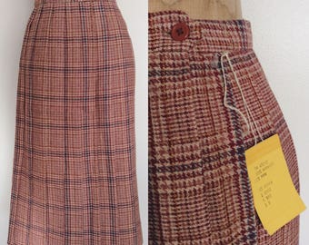 1970's Deadstock Plaid Pleated Wool Blend Skirt Size Small by Maeberry Vintage