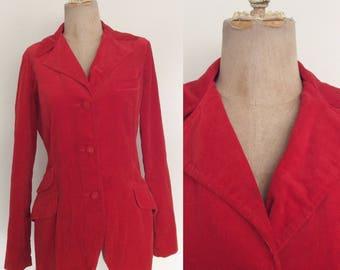 1970's Holiday Red Velvet Blazer Retro Fitted Jacket Size Medium Large by Maeberry Vintage