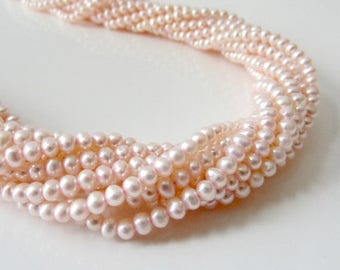 VACATION SALE Pale PInk Pearls, Freshwater Pearls, Little Pearls, Small Pearls, Pink Seed Pearls, Genuine Pearls, Potato Pearls 3.5mm - 4mm-