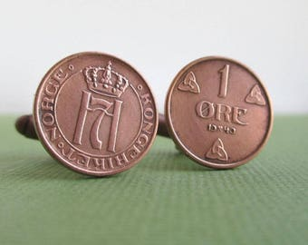 NORWAY Coin Cuff Links - Norge Repuropsed Vintage Bronze Coins