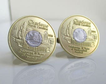 CHARLOTTE Coin Cuff Links - Repurposed Transit Tokens - Carolina Panthers Anniversary